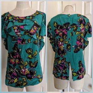 Postella Anthropologie floral teal silk blouse